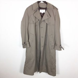 Grey large London fog hooded coat rain deep pocket